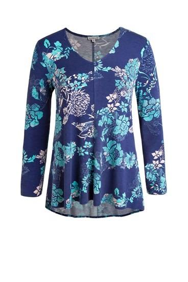 Floral Swing V Neck Long Sleeve
