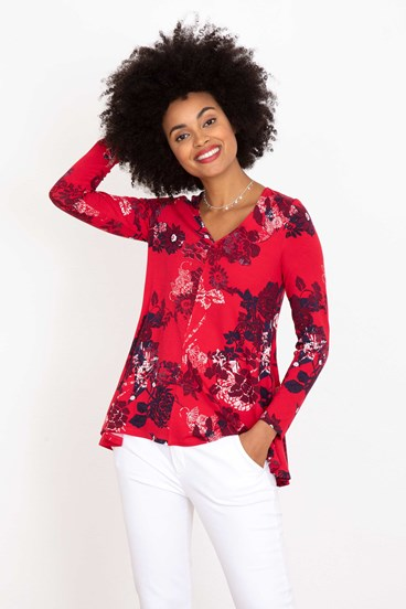 Floral Swing V Neck Long Sleeve