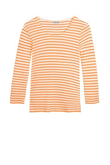 Stripey Pima Scoop 3/4 Sleeve