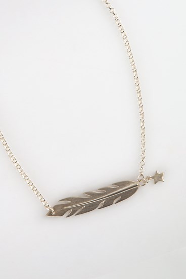 Feather Necklace Silver
