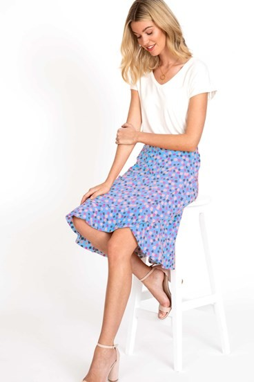Confetti Faux Wrap Skirt
