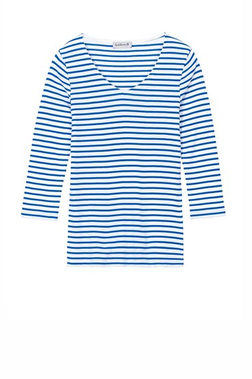 Stripey Pima V Neck