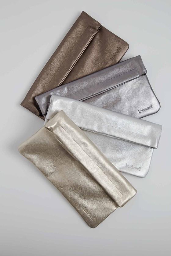Metallic Leather Clutch