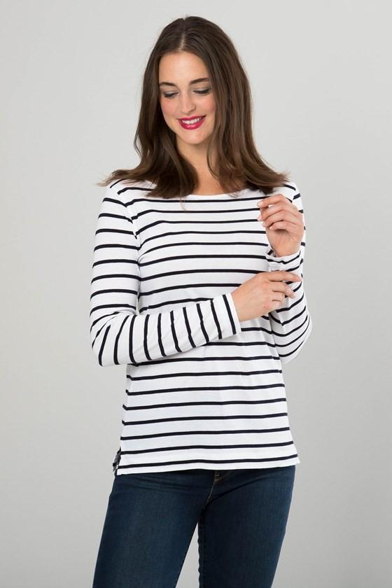 Stripe Boat Neck