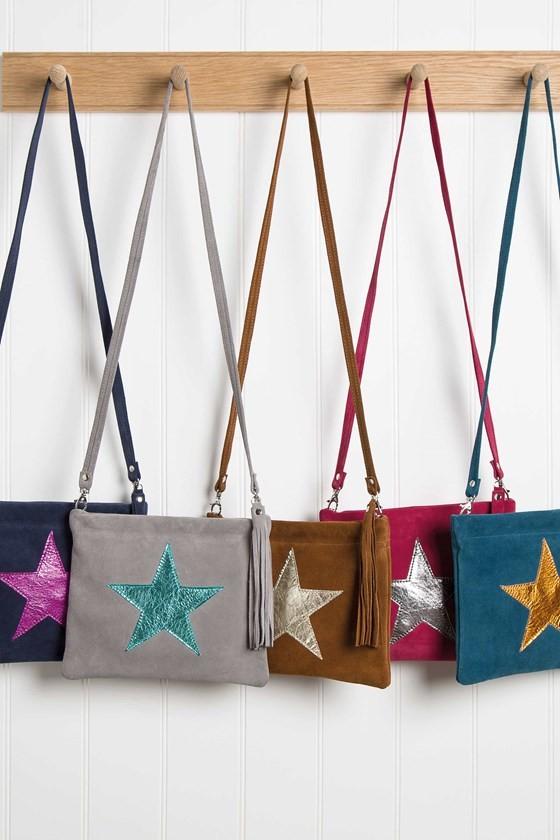 Suede Star Shoulder Bag