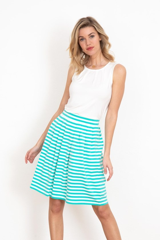 Pleat Stripe Skirt