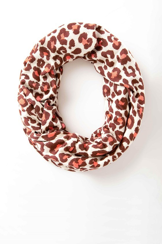 Coral Leopard Infinity Scarf