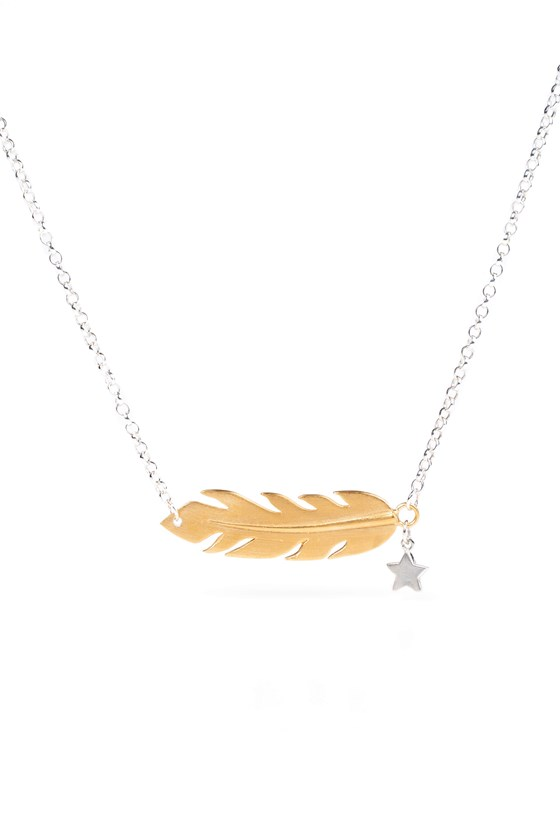 Feather Necklace Gold