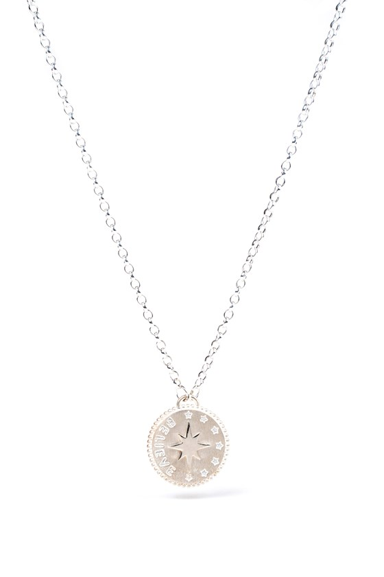 Believe Penny Necklace Silver