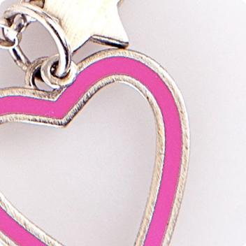 Fuchsia Heart & Silver Chain
