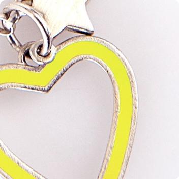 Neon Heart & Silver Chain